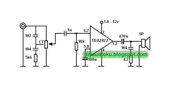 diy audio elektronika  merakit integrate power amplifier tda2822 sederhana
