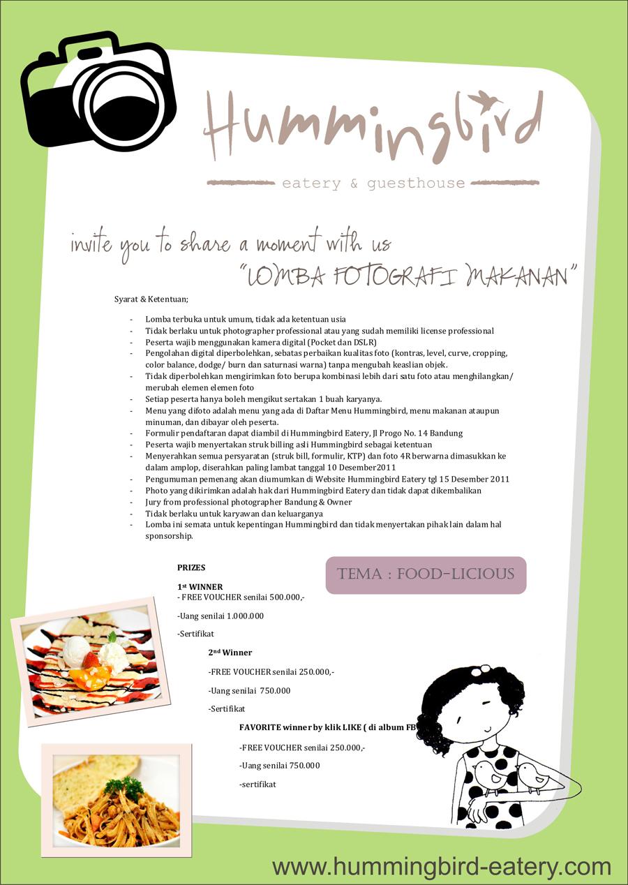 Lomba Fotografi Menu Makanan Bandung HummingBird