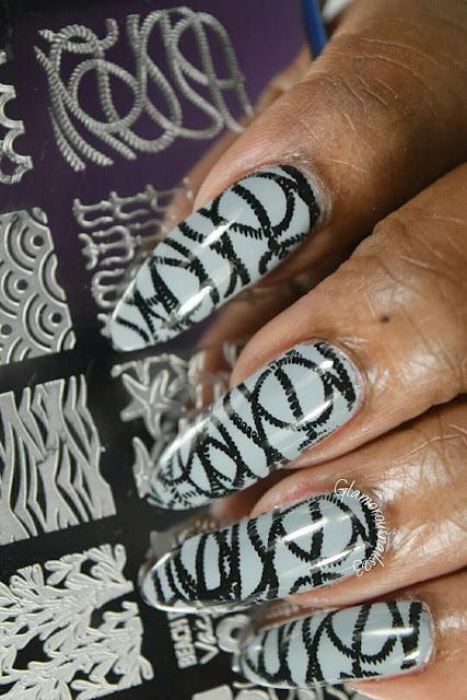 Ropes Stamping Nail Art Using Bundle Monster BM-XL24 Plate