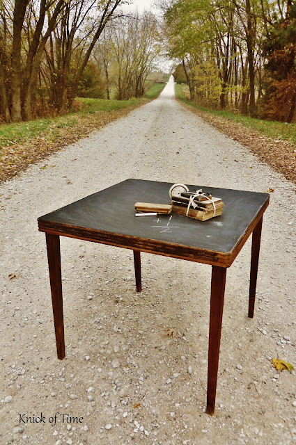 turn anything into a chalkboard like this old folding table via http://knickoftimeinteriors.blogspot.com/2012/11/thursdays-theme-old-school.html
