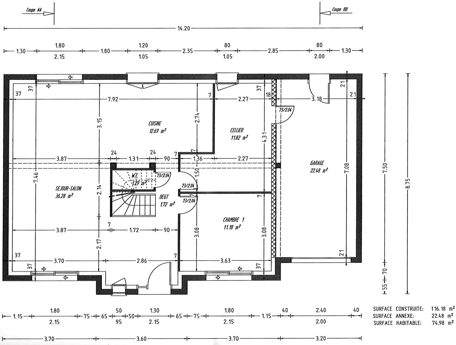 Plan maison 120m2 4 chambres for Plans et dessins de construction