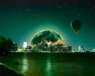 gece şehir ve uçan balon masaüstü resimlerinden