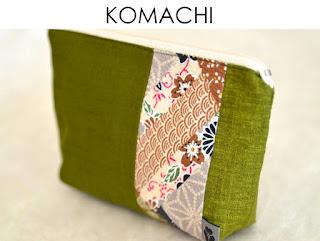 Täschchen Komachi aus japanischen Stoffen von Noriko handmade, handgemacht, Einzelstück, Unikat, Schminktäschchen, Design