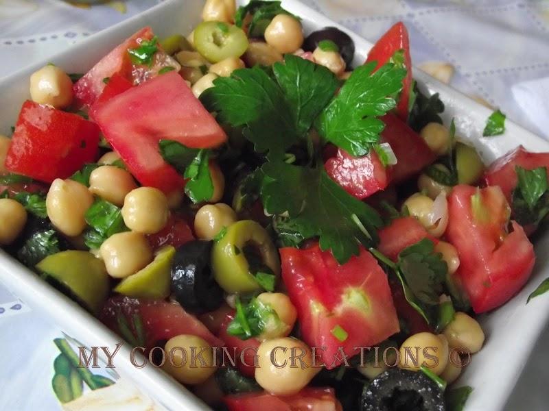 Insalata di ceci, pomodori e olive * Салата с нахут, домати и маслини