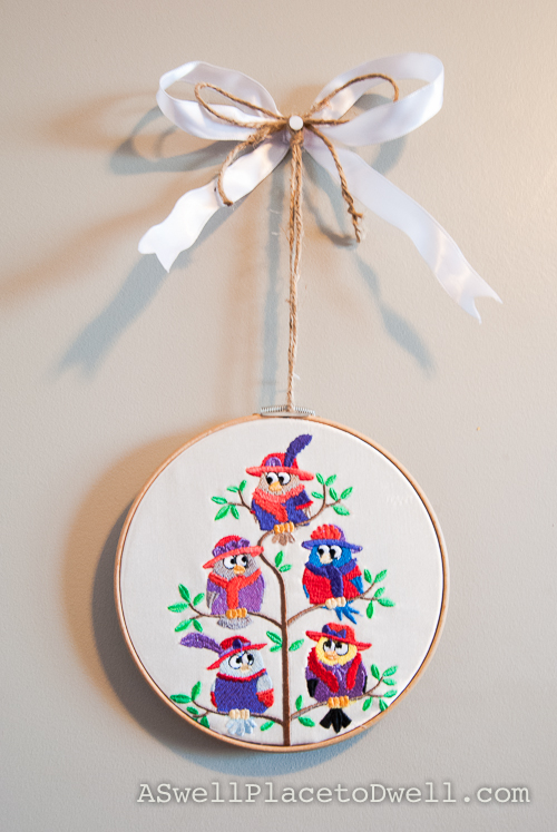Owl Art in Embroidery Hoop
