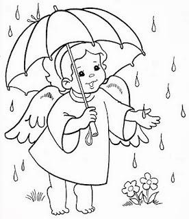 risco de anjinho com guarda chuva para pintar