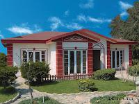 modelo de casa de 1 piso blanca con rojo
