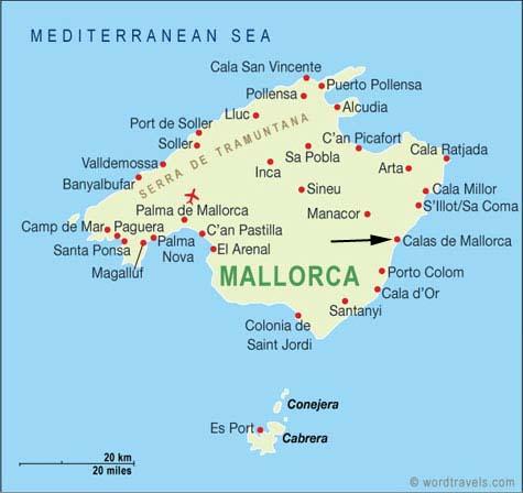 Majorque Carte de la ville   Carte Espagne Ville Région politiques