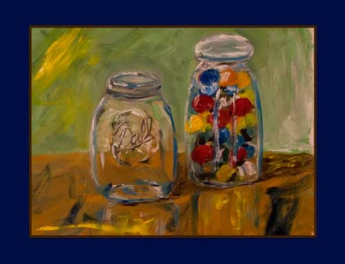 oil painting on paper jars