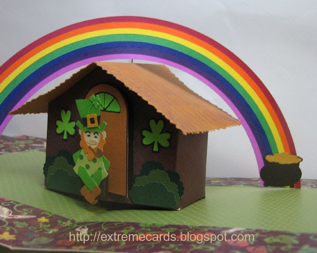 extreme cards and papercrafting  leprechaun pop up house