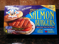 Package of frozen salmon burgers