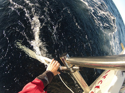 Fixing the Cape Horn windvane paddle after a big wave knocked it loose.