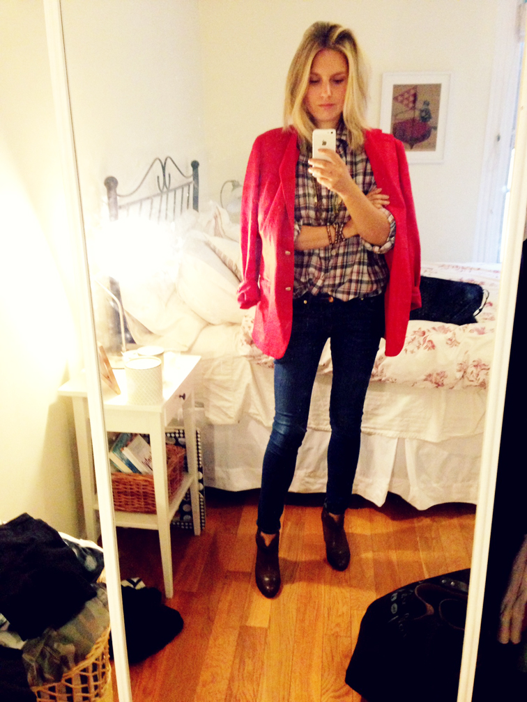 OOTD Boyfriend Blazer Red Plaid