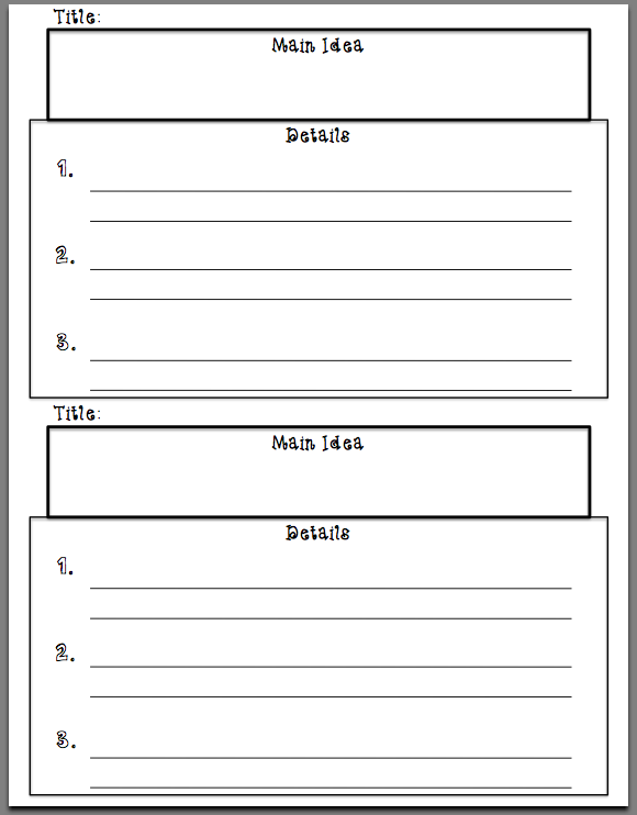 Idea And Details Graphic Organizer on main idea and details worksheets ...