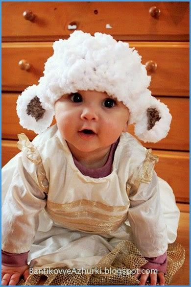 """вязанная шапочка для ребенка """"овечка"""""""