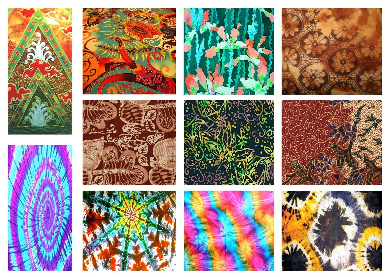 Koleksi pelbagai corak batik sebagai sumber ilham.