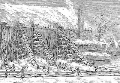 blocs de glace, récolte de la glace, ouvriers, XIXe siècle
