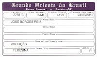 IDENTIDADE MAÇÔNICA DE JOSÉ BORGES REIS