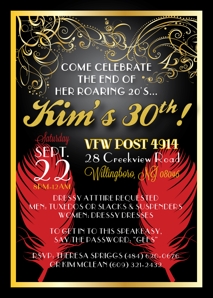 Custom Printables: Kim's 30th Birthday