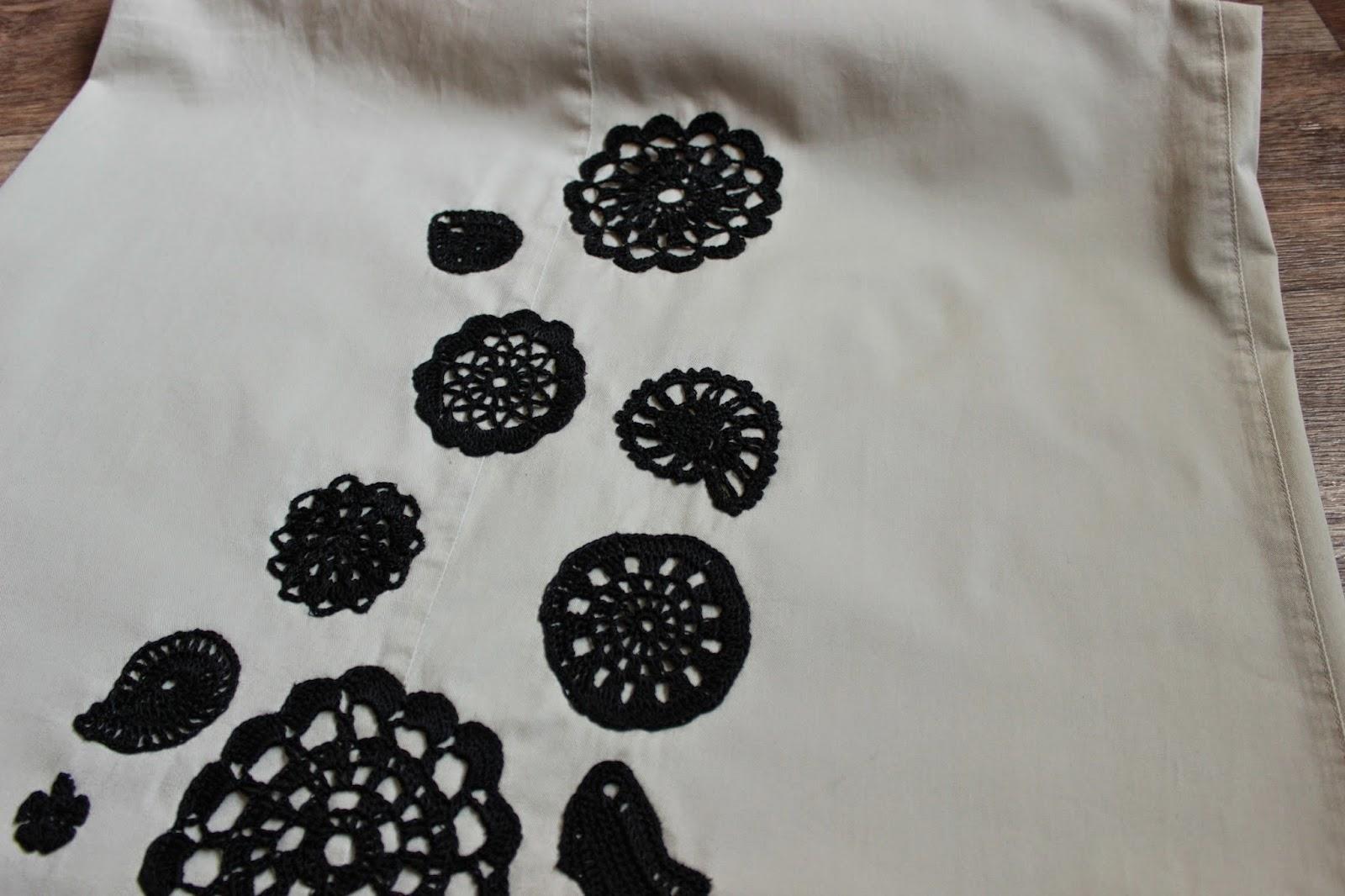 вязаные элементы, юбка, красивая юбка, юбка с вязаными элементами, вязаные цветы,  юбка в этно стиле