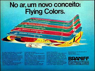 propaganda Braniff - 1976. década de 70. os anos 70; propaganda na década de 70; Brazil in the 70s, história anos 70; Oswaldo Hernandez;