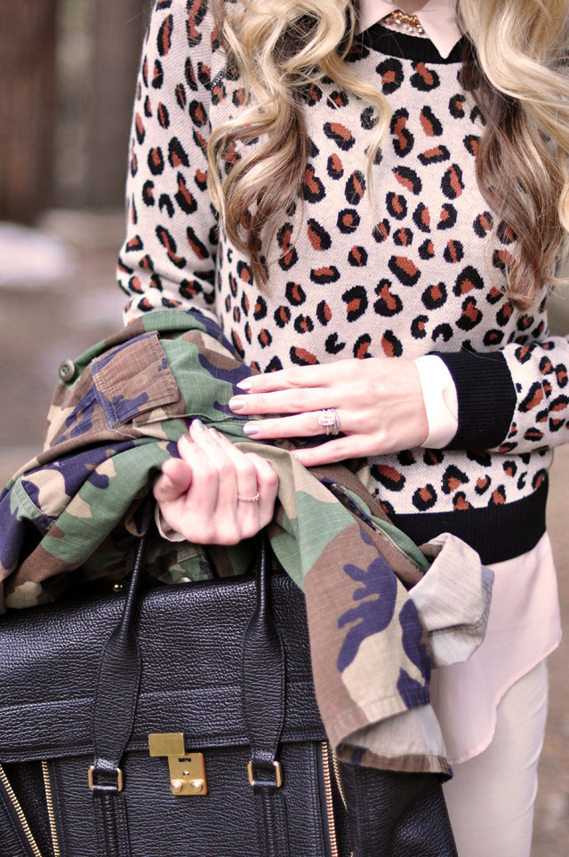 cheetah sweater, camo jacket, phillip lim pashli bag