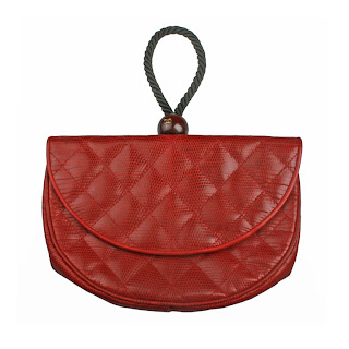 Vintage 1960's red lizard Chanel pochette clutch bag with rope wristlet handle.