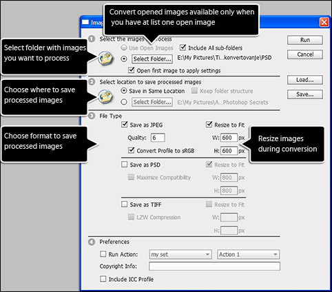 Image Processor dialog in Adobe Photoshop