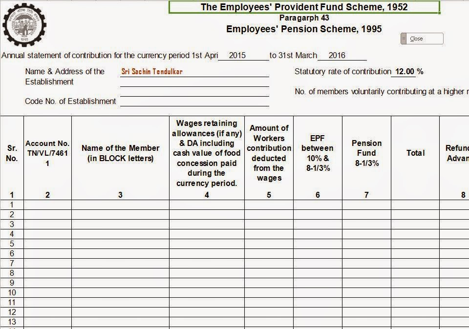 esic form 6a in excel format