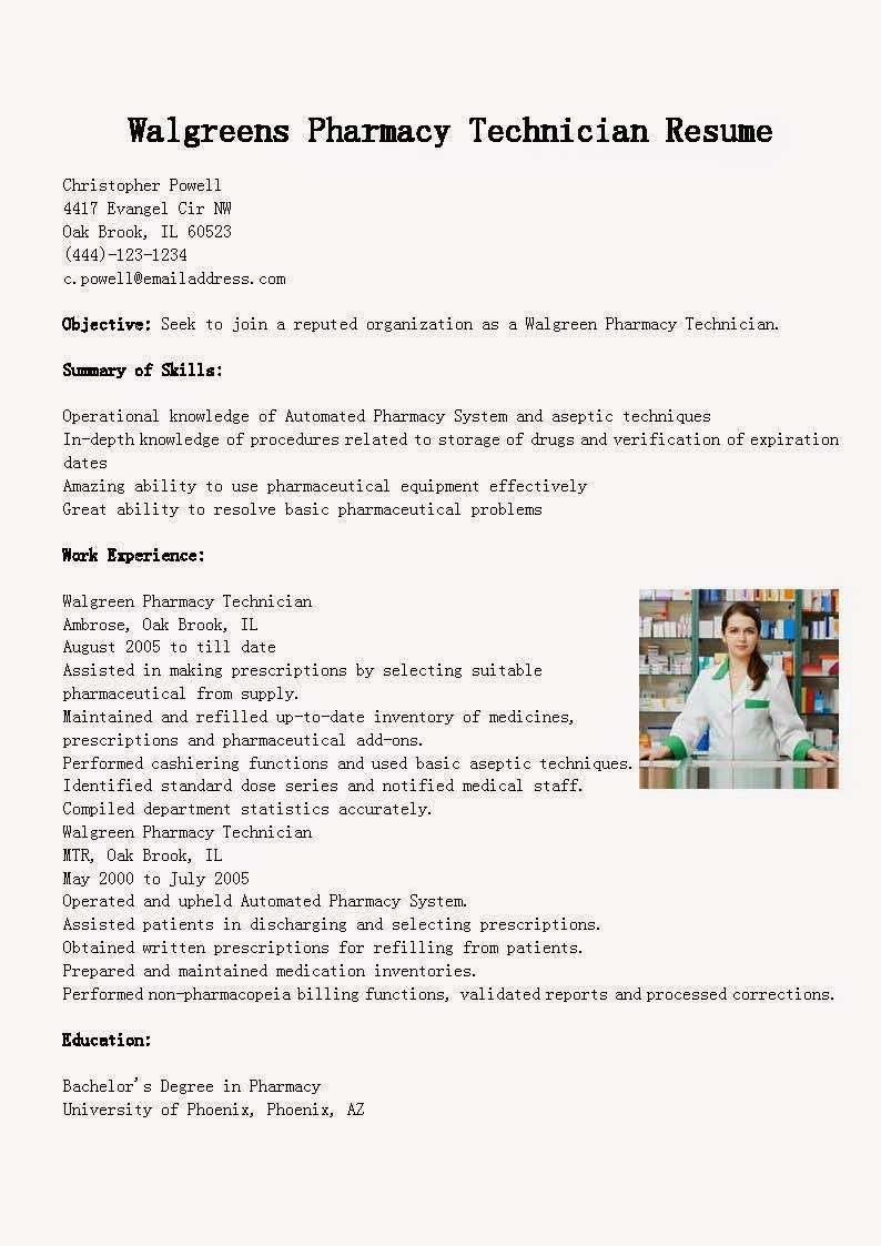 Resume Samples Walgreens Pharmacy Technician Resume Sample