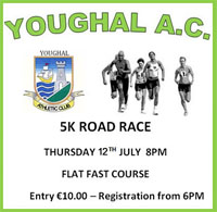 Flat 5k in Youghal, E Cork... Thurs 12th July 2018