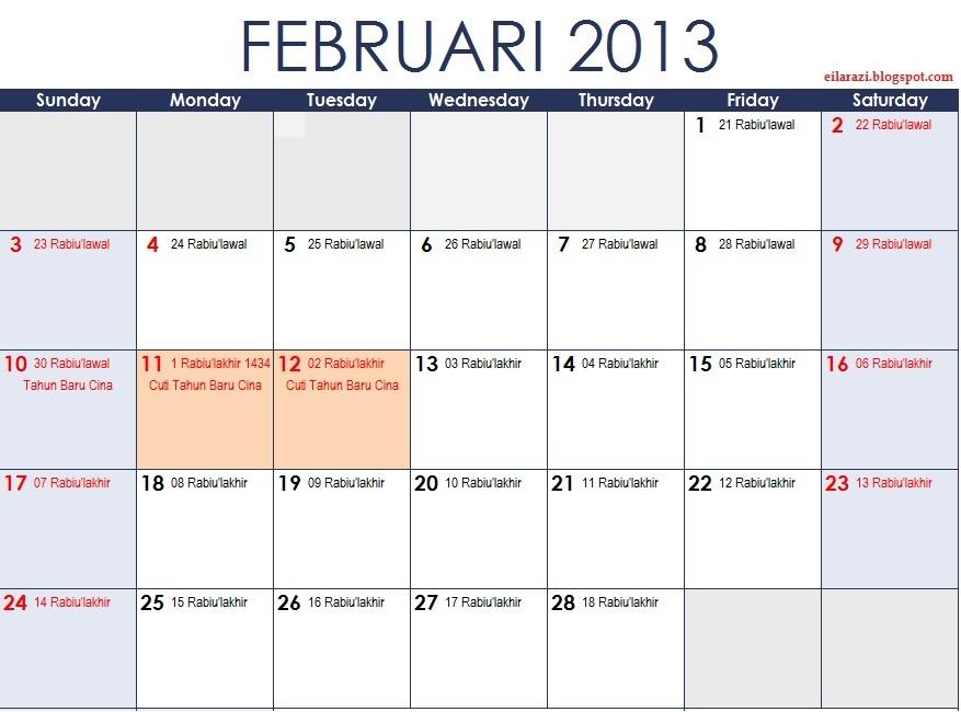 Kalendar Tahun 2013 Plus Kalendar Islam Safar 1434 - Rabi'ulawal 1435