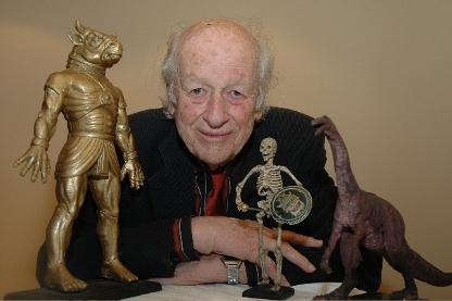 Harryhausen with his creations