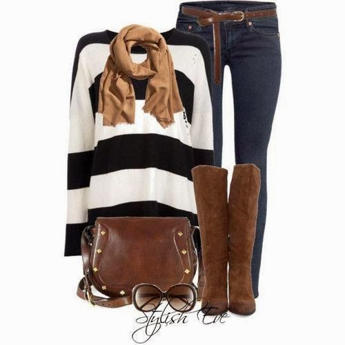 Brown scarf, white and black sweater, jeans, hand bag and long shoes for fall