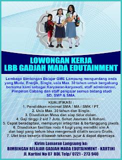 Bursa Kerja Lampung GADJAH MADA EDUTAINMENT