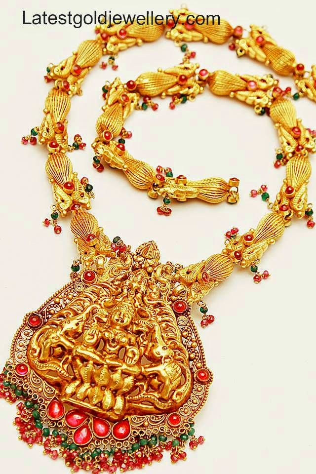 Elegant Temple Jewellery Necklace | Latest Gold Jewellery Designs