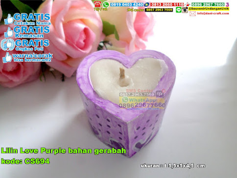 Lilin Love Purple Bahan Gerabah