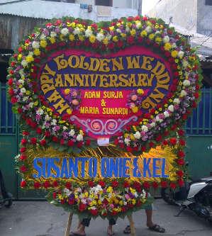 karangan bunga papan golden anniversary