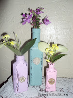 painted bottles with pearls, how to paint bottles, repurposed old bottles