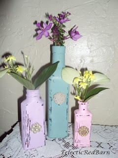 shabby chic painted bottles, painted bottles with earrings