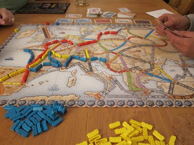 Ticket To Ride: Europe - The board midway through the game