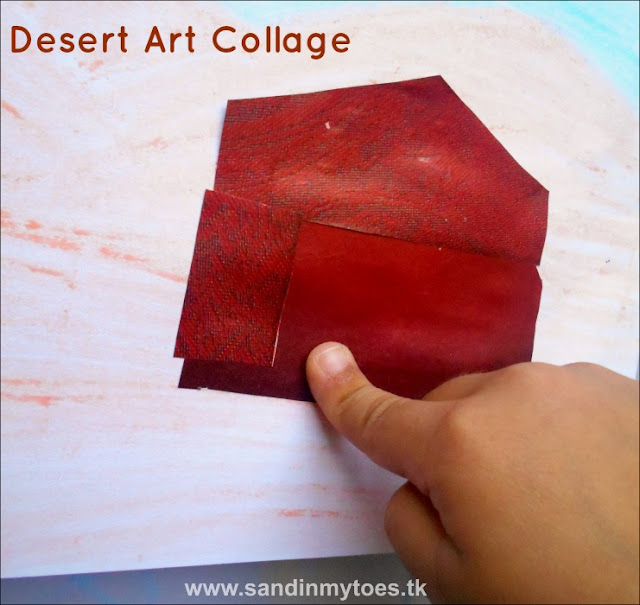 Desert collage art - a learning activity for kids.
