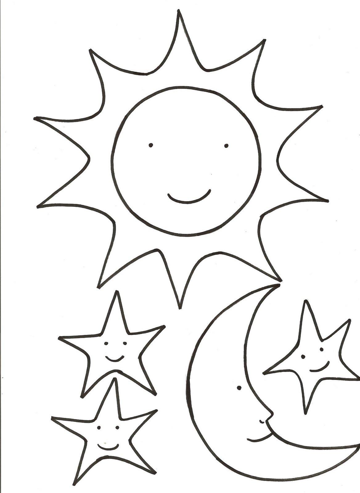 Fantástico Páginas Para Colorear De Sol Y Luna Para Niños Festooning ...