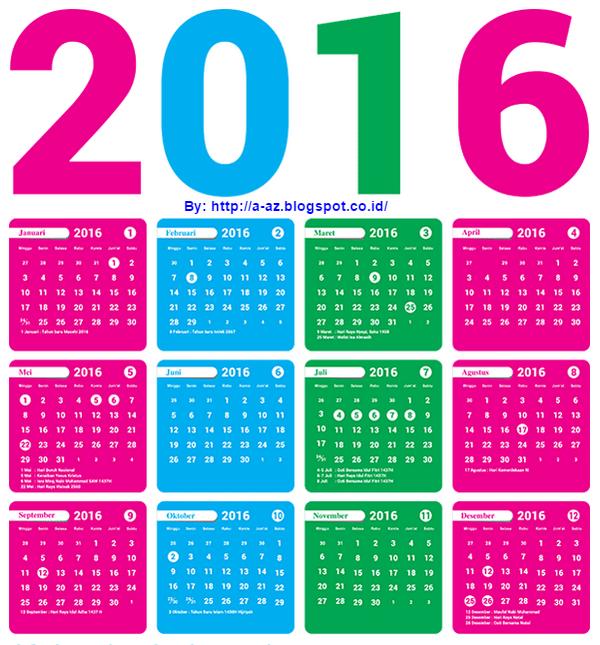 KALENDER TAHUN 2016 | INFORMASI MENARIK