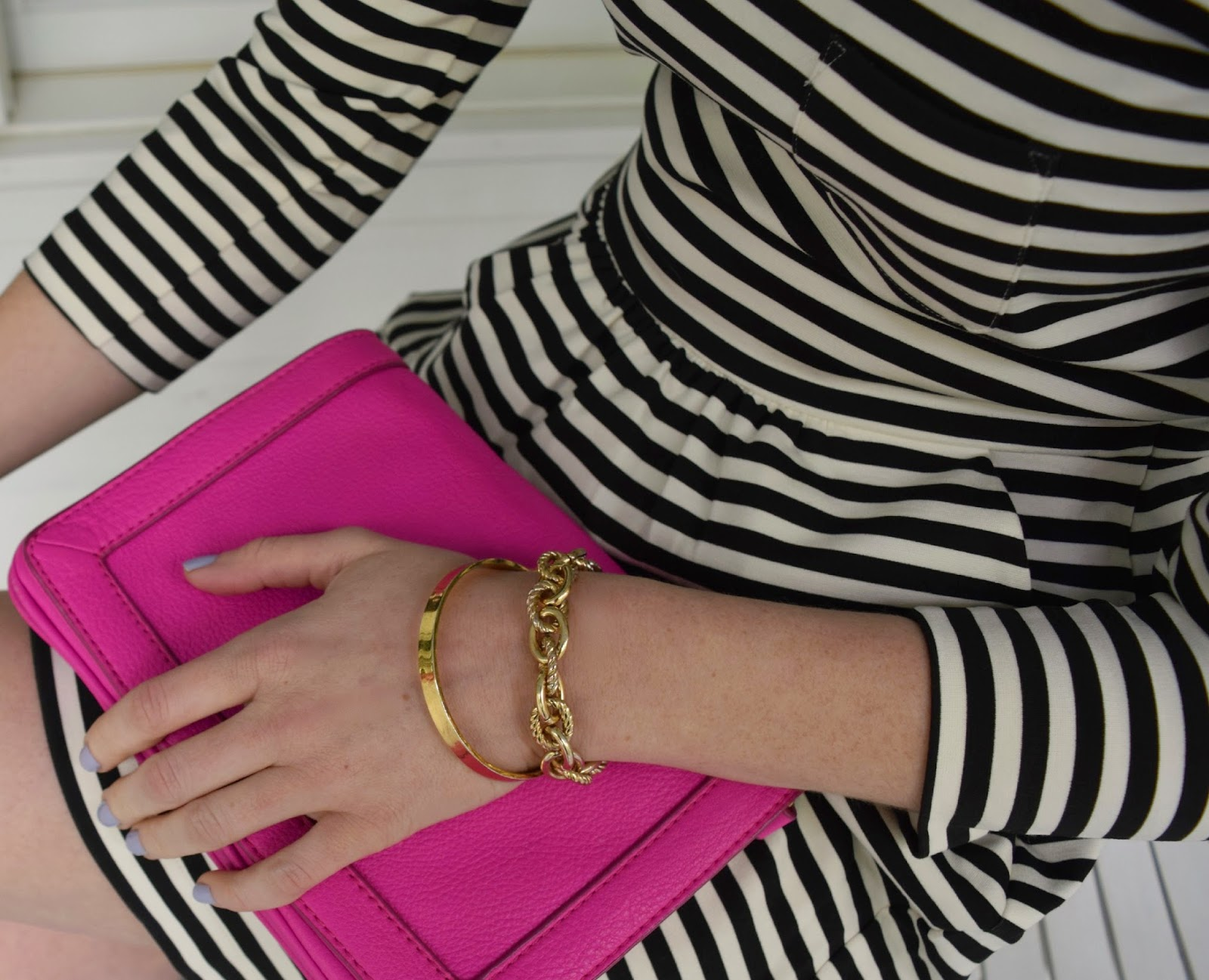 factory pocket dress in stripe - j.crew striped dress - black and white striped dress - pink purse - kate spade bracelet