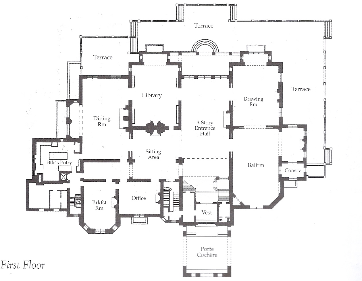 The gilded age era ochre court the ogden goelet estate Mansion floor plans