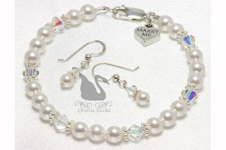 Marry Me Heart Charm Crystal Pearl Bracelet Set (BES6)
