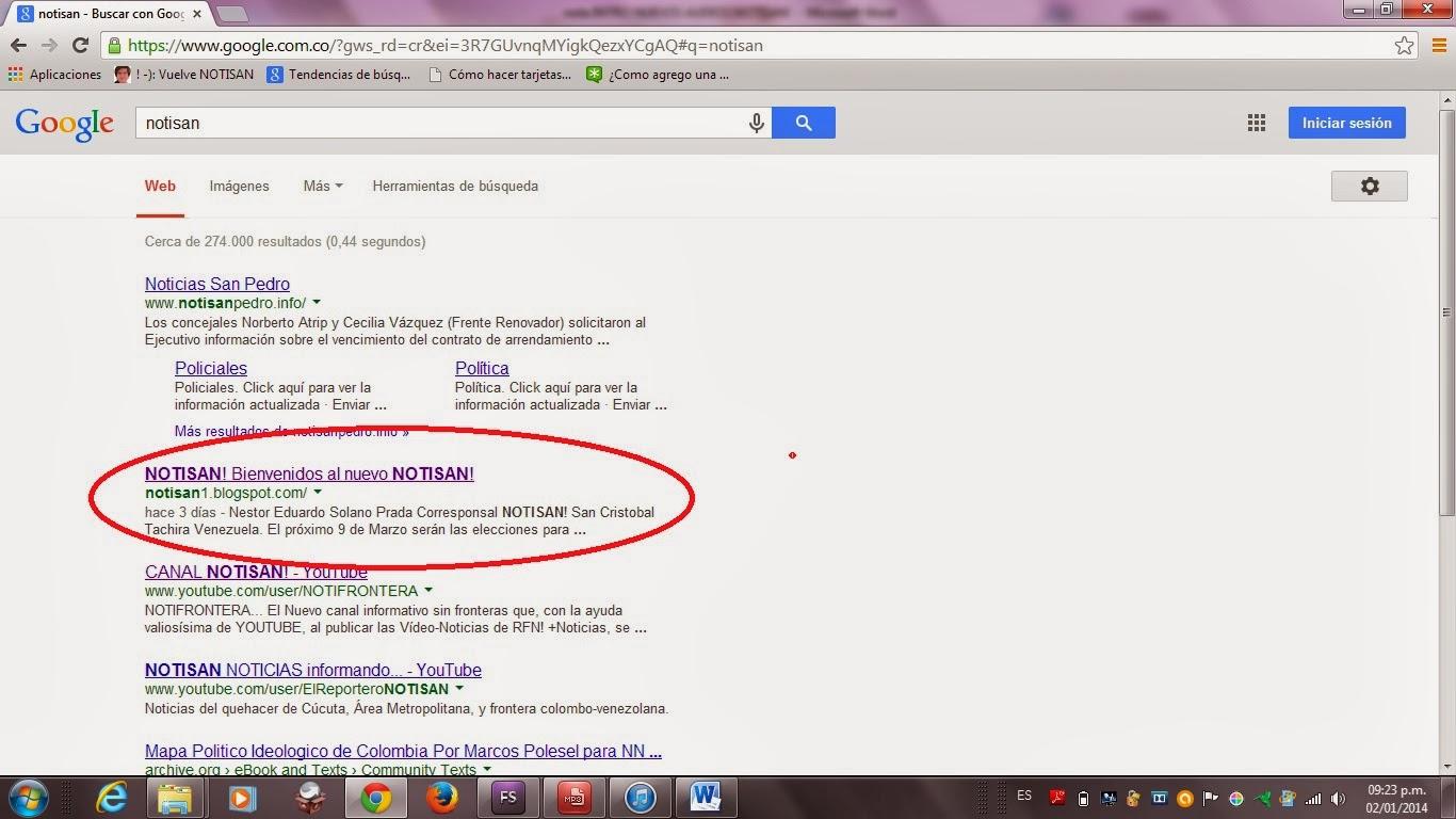 Impresion de Pantalla Busquedas NOTISAN! por Google con nevagador Chrome 02Ene2014: NOTISAN! ocupa el segundo lugar en el ranking de búsquedas
