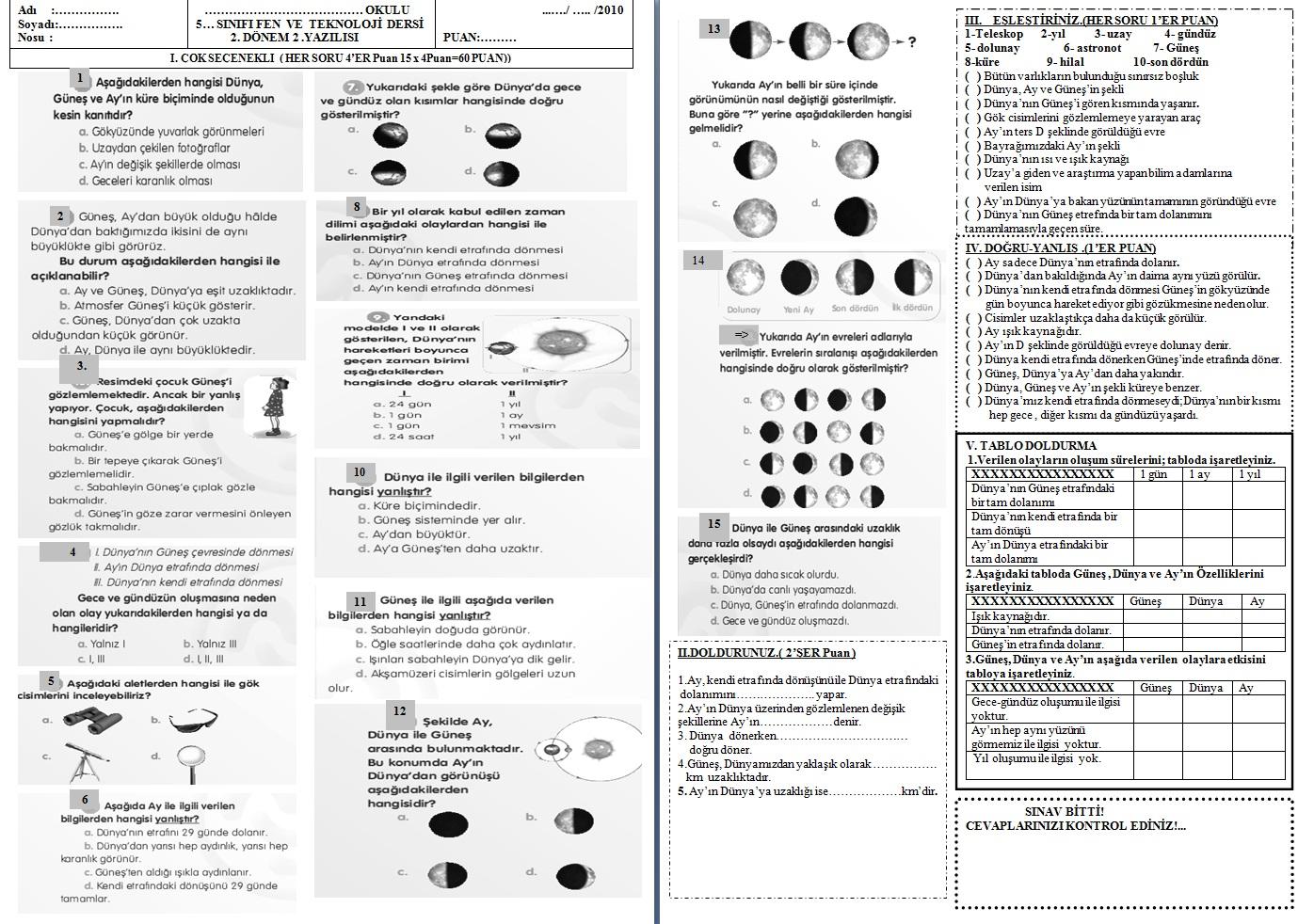 Sınıf fen ve teknoloji 2 dönem 2 yazılı 3