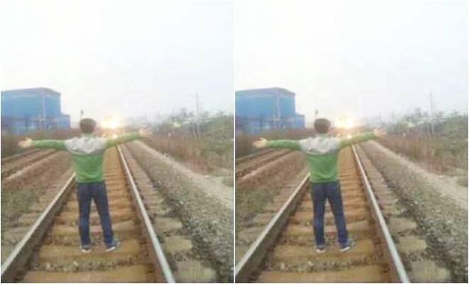 pria cina hentikan kereta api